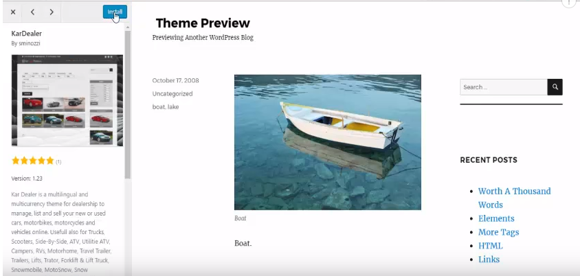 wordpress theme preview